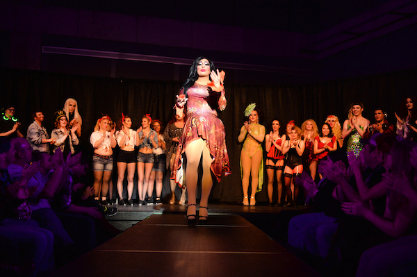 This is a photo taken from the Fall 2016 GSA Drag Show. Professional Drag Queen, Christina Jackson is strutting down the catwalk wearing a pink dress and black heels as other student performers and professional kings/queens stand behind her.