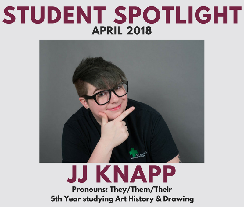 April 2018 Student Spotlight - JJ Knapp, 5th year student studying art history and drawing. Their pronouns are they/them/their.