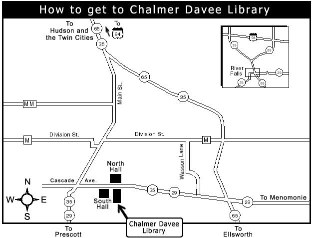 Map to Chalmer Davee Library