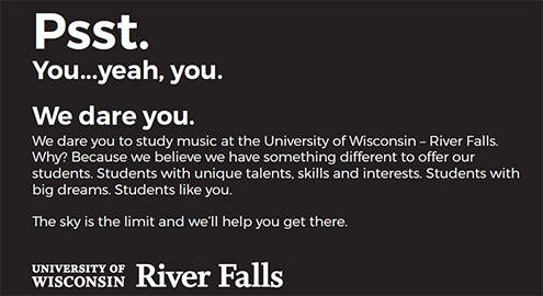 Psst. We dare you to study music at UWRF.