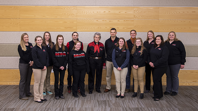 Temple Grandin and UWRF students Animal Welfare Lab