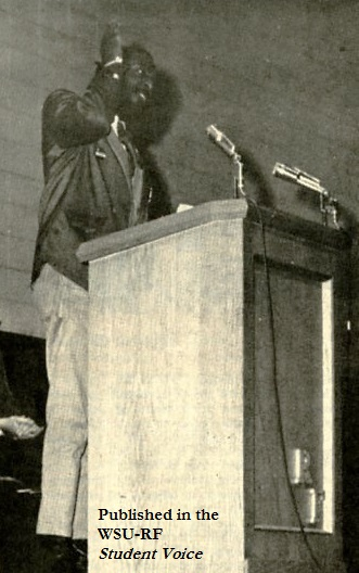Comedian and activist Dick Gregory speaking at WSU-RF, March 12, 1968