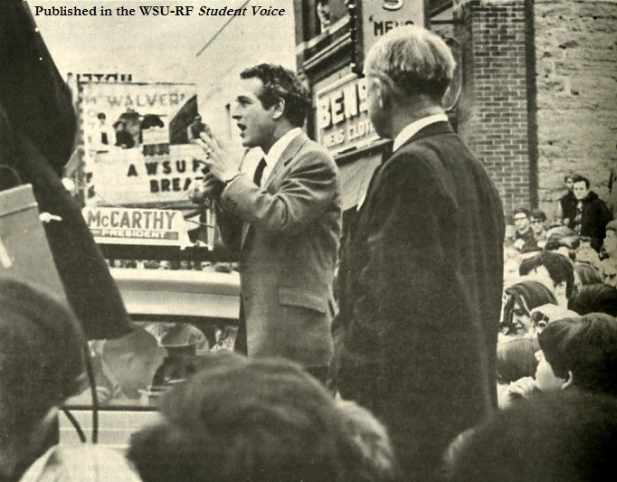 Actor Paul Newman addressing a rally in support of Eugene McCarthy in downtown River Falls, April 1, 1968