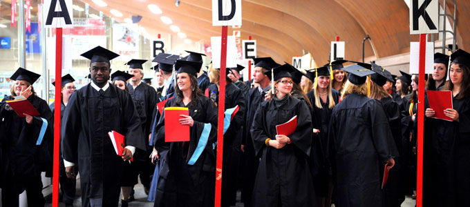 Students lining up for the commencement ceremony.