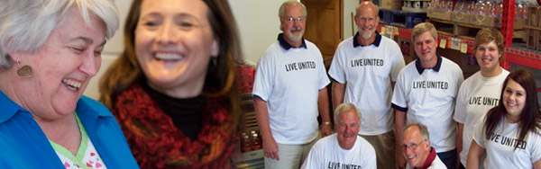 Laughing People. People wearing Live United T-Shirts