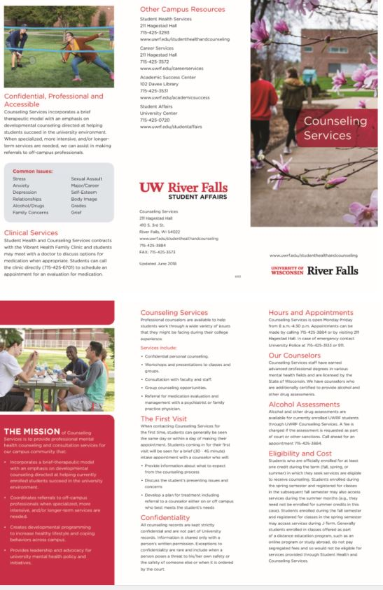 Counseling Services Brochure | University of Wisconsin River Falls