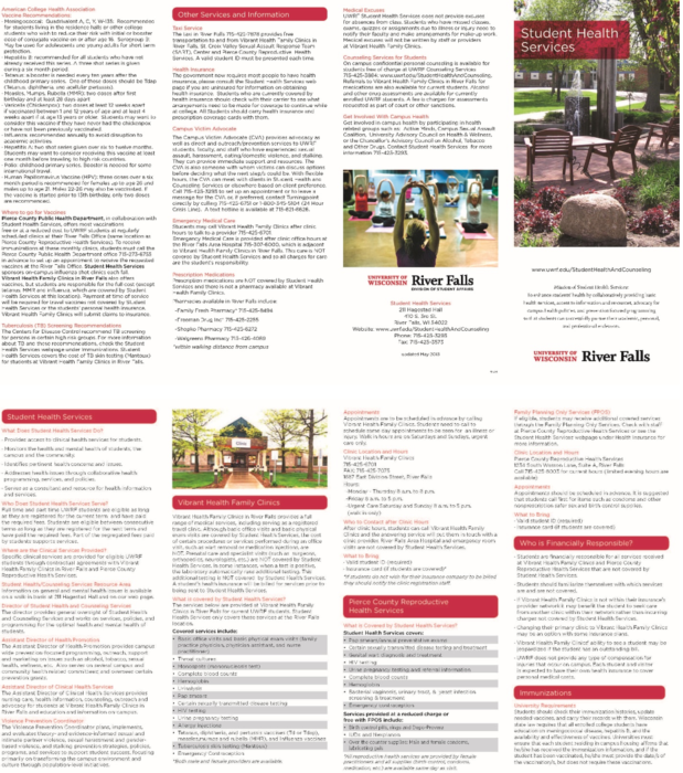 Student Health Brochure | University of Wisconsin River Falls